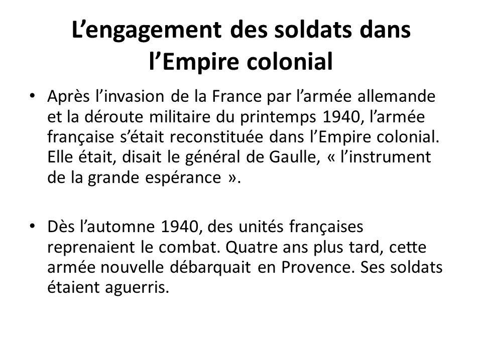 L'engagement des soldats dans l'Empire colonial