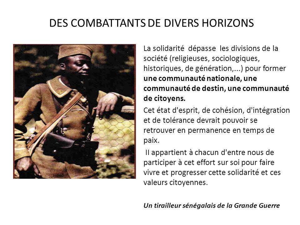 DES COMBATTANTS DE DIVERS HORIZONS