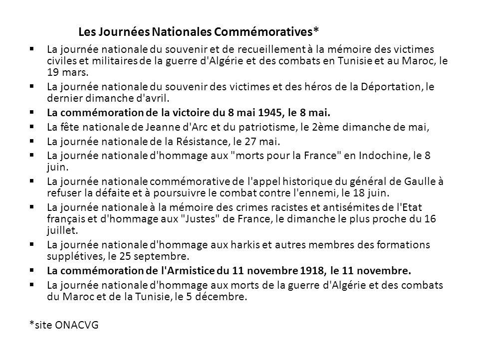 Les Journées Nationales Commémoratives*
