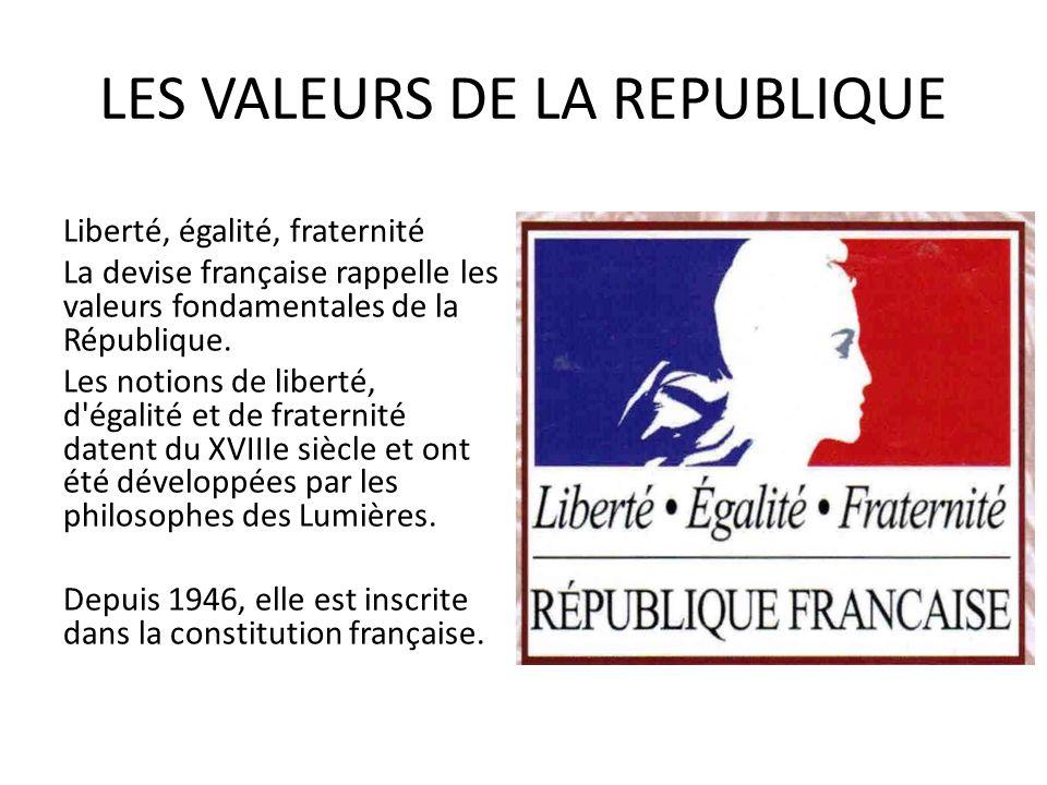 LES VALEURS DE LA REPUBLIQUE