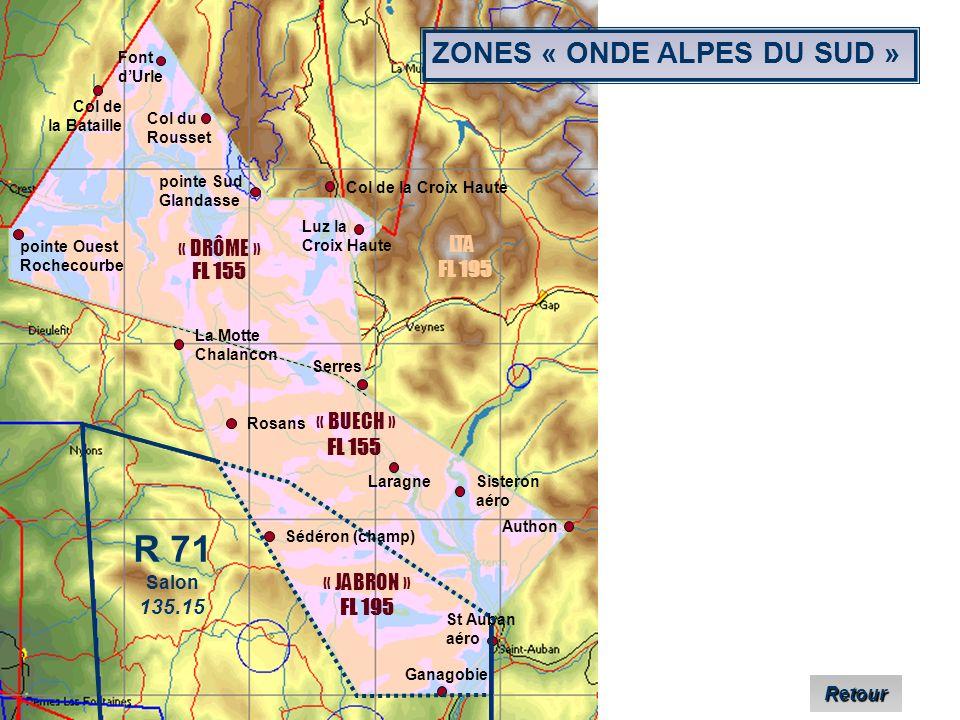 R 71 ZONES « ONDE ALPES DU SUD » LTA « DRÔME » FL 155 FL 195 « BUECH »