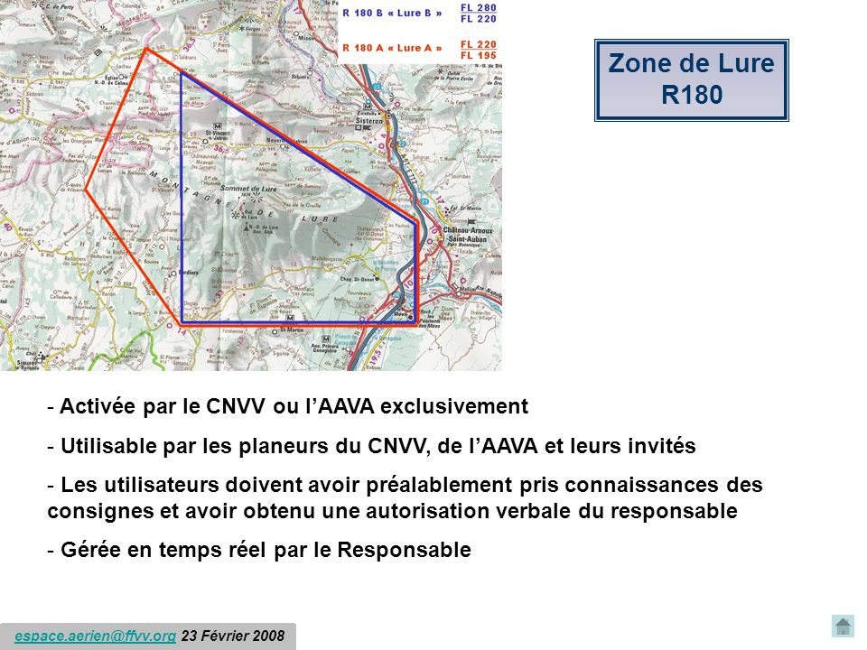 Zone de Lure R180 Activée par le CNVV ou l'AAVA exclusivement