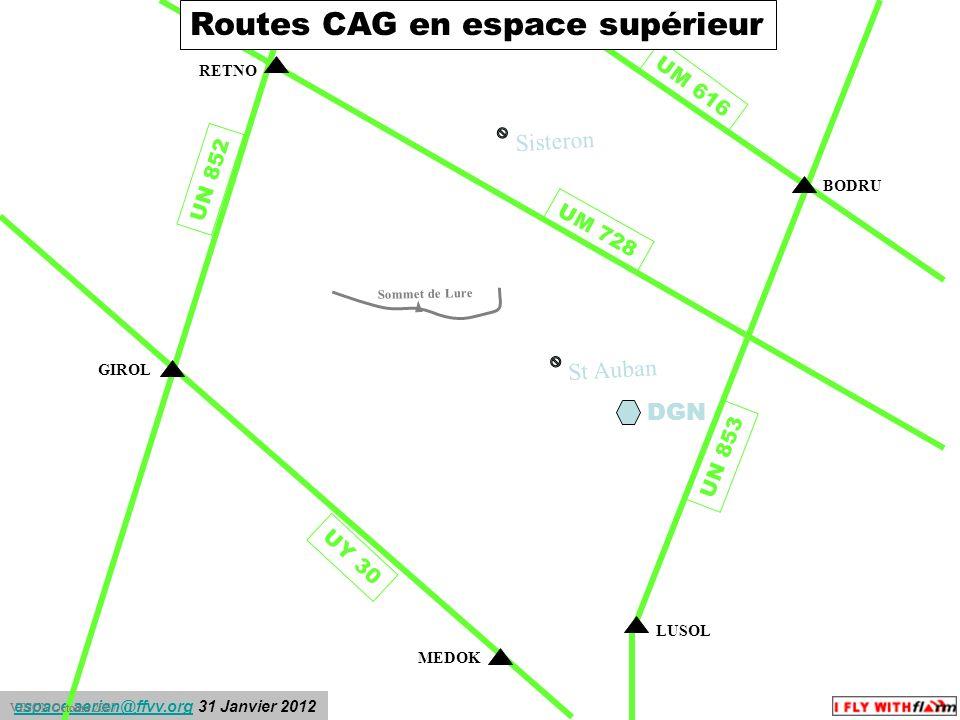 Routes CAG en espace supérieur