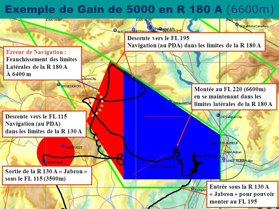 Exemple de Gain de 5000 en R 180 A (6600m)