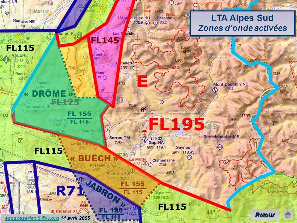 E LTA Alpes Sud Zones d'onde activées « DRÔME » « BUËCH » « JABRON »