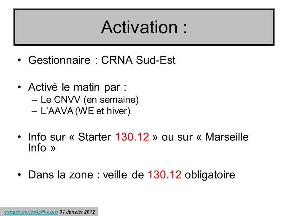 Récapitulons : Activation : Gestionnaire : CRNA Sud-Est