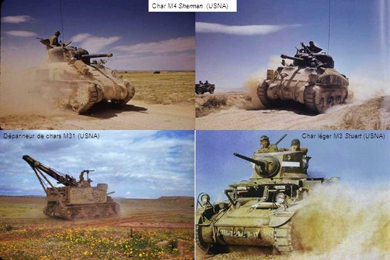 Char M4 Sherman (USNA) Dépanneur de chars M31 (USNA) Char léger M3 Stuart (USNA)