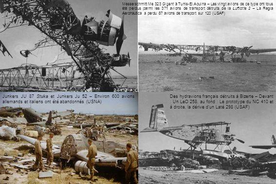 Messerschmitt Me 323 Gigant à Tunis-El Aouina – Les vingt avions de ce type ont tous été perdus parmi les 371 avions de transport détruits de la Luftlotte 2 – La Regia Aeronautica a perdu 87 avions de transport sur 120 (USAF)