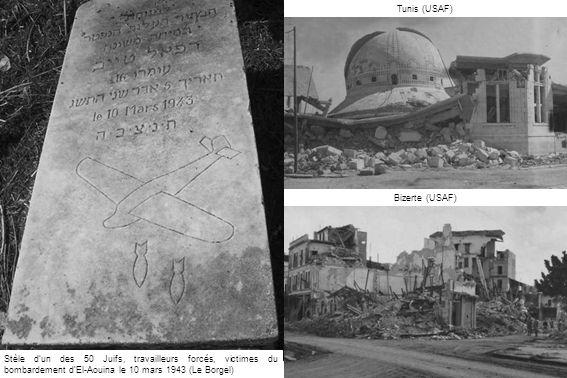 Tunis (USAF) Bizerte (USAF) Stèle d'un des 50 Juifs, travailleurs forcés, victimes du bombardement d'El-Aouina le 10 mars 1943 (Le Borgel)