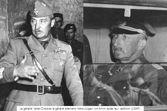 Le général italien Costa et le général allemand Hans-Jürgen von Arnim après leur reddition (USAF)