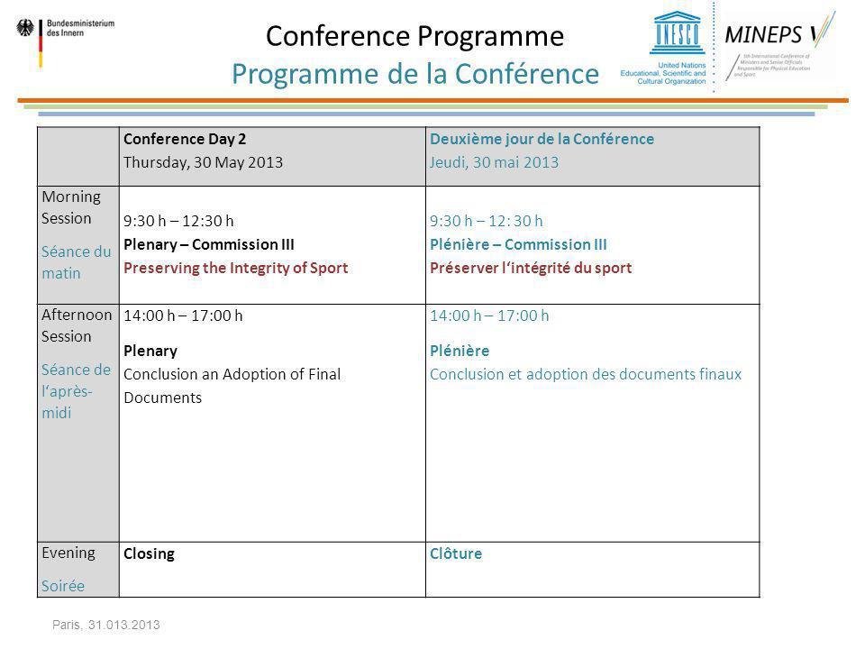 Conference Programme Programme de la Conférence