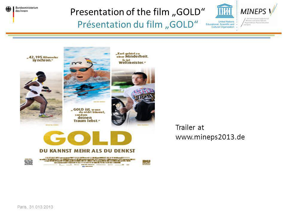 "Presentation of the film ""GOLD Présentation du film ""GOLD"