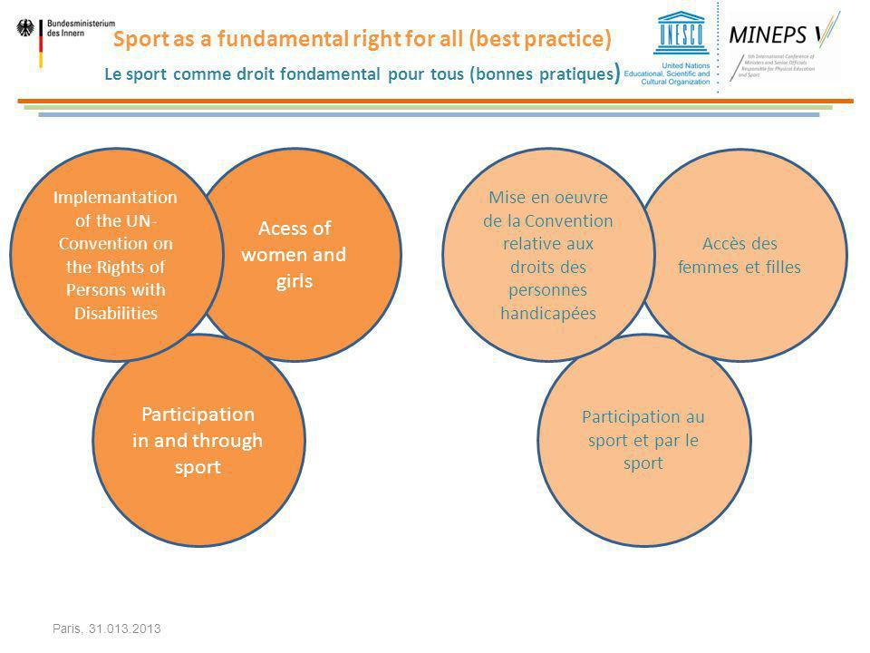 Sport as a fundamental right for all (best practice) Le sport comme droit fondamental pour tous (bonnes pratiques)