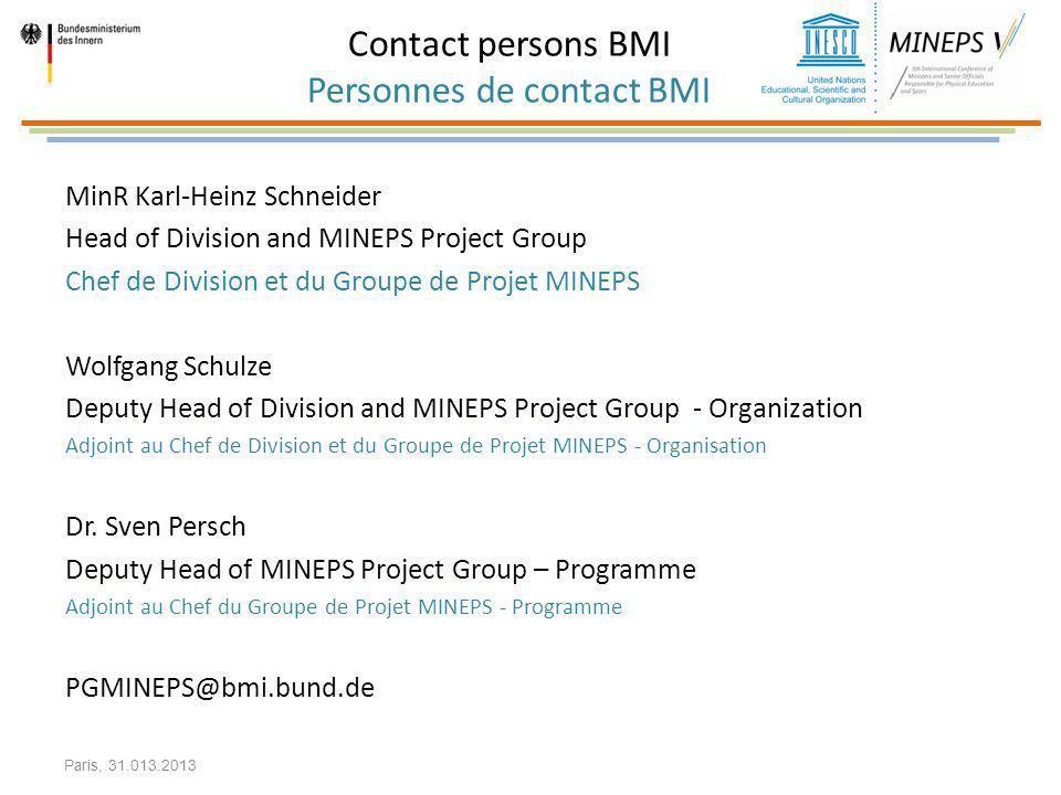 Contact persons BMI Personnes de contact BMI