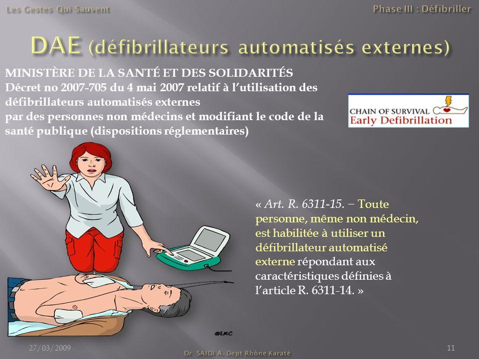 DAE (défibrillateurs automatisés externes)