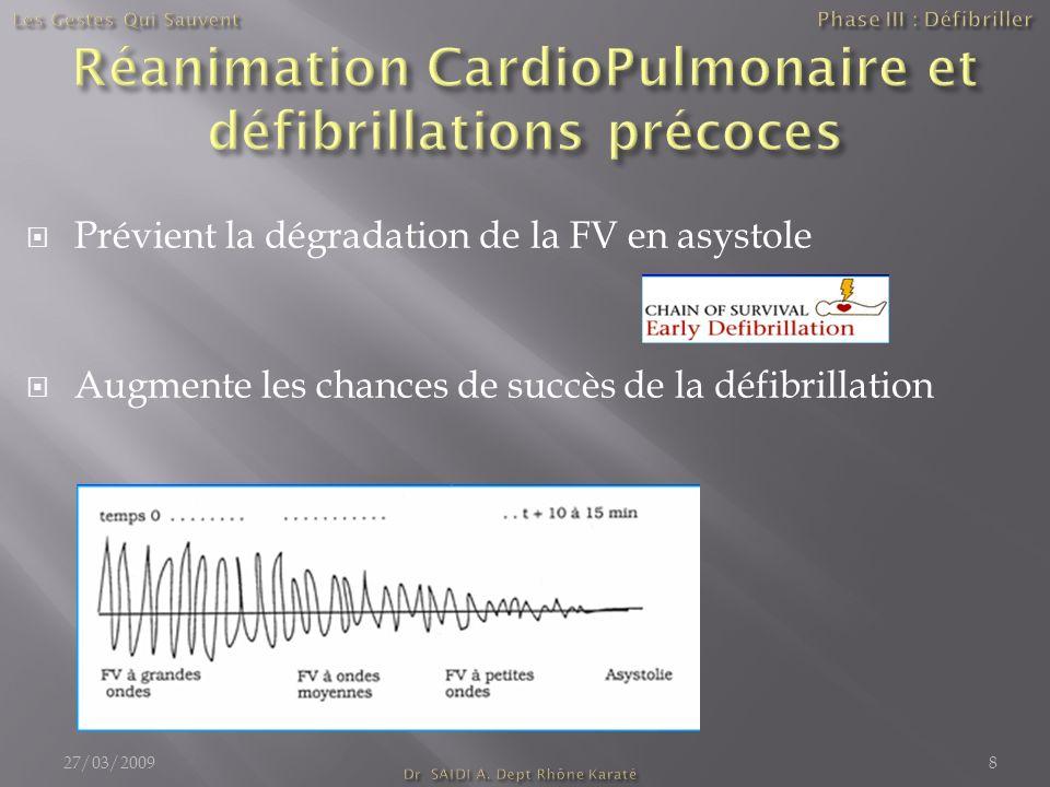 Réanimation CardioPulmonaire et défibrillations précoces