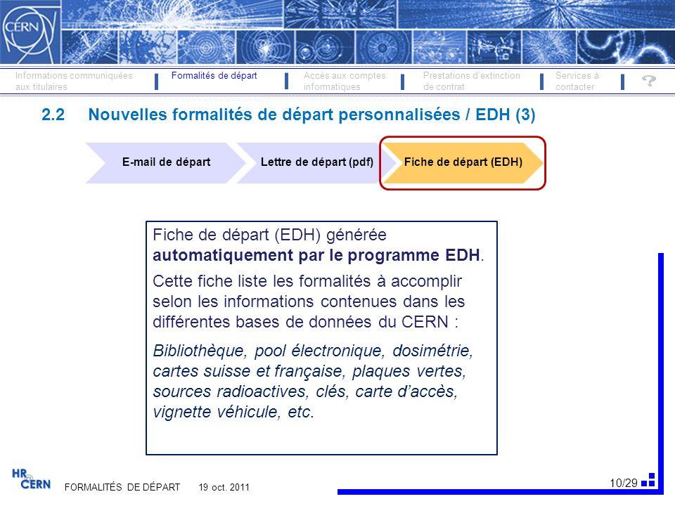 2.2 Nouvelles formalités de départ personnalisées / EDH (3)