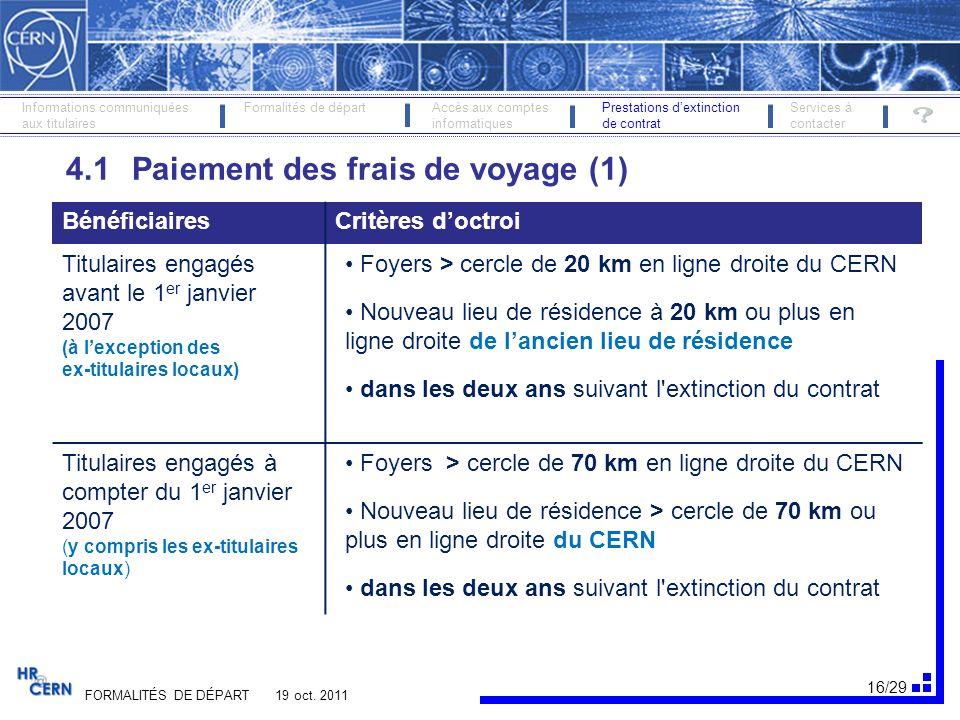 4.1 Paiement des frais de voyage (1)