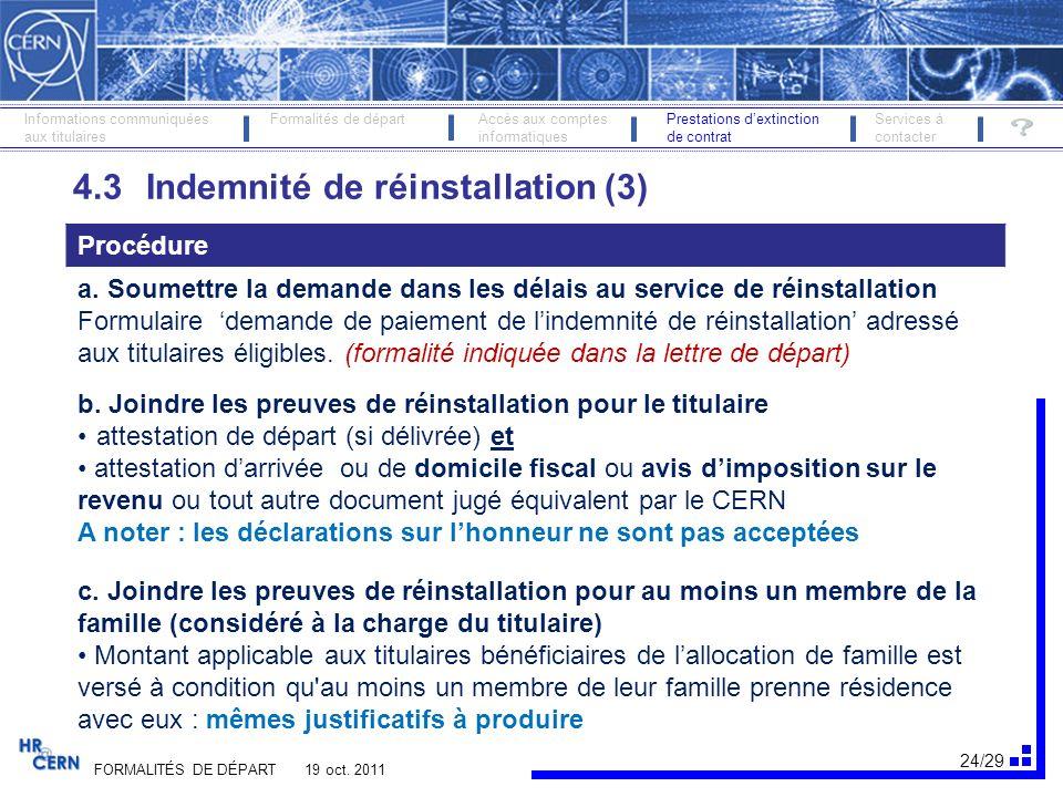 4.3 Indemnité de réinstallation (3)
