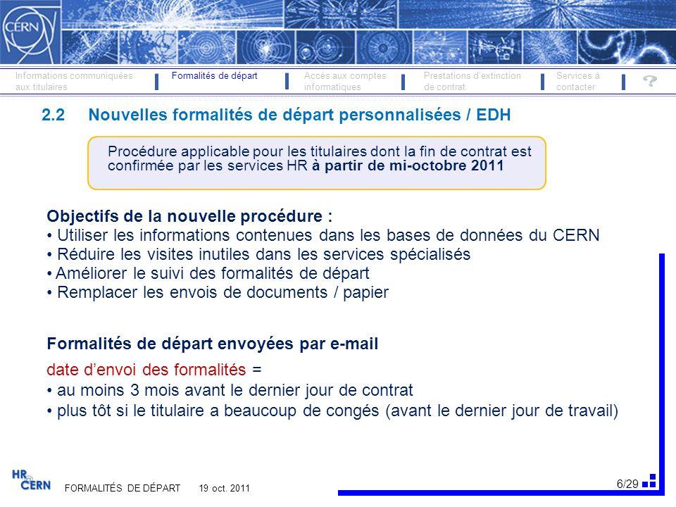 2.2 Nouvelles formalités de départ personnalisées / EDH