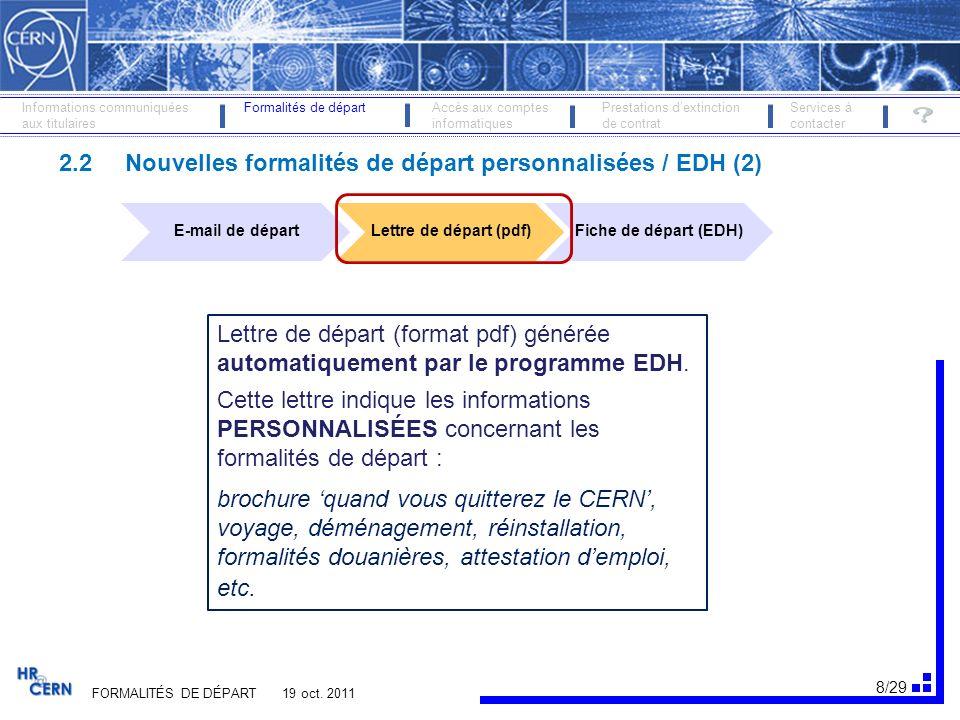 2.2 Nouvelles formalités de départ personnalisées / EDH (2)
