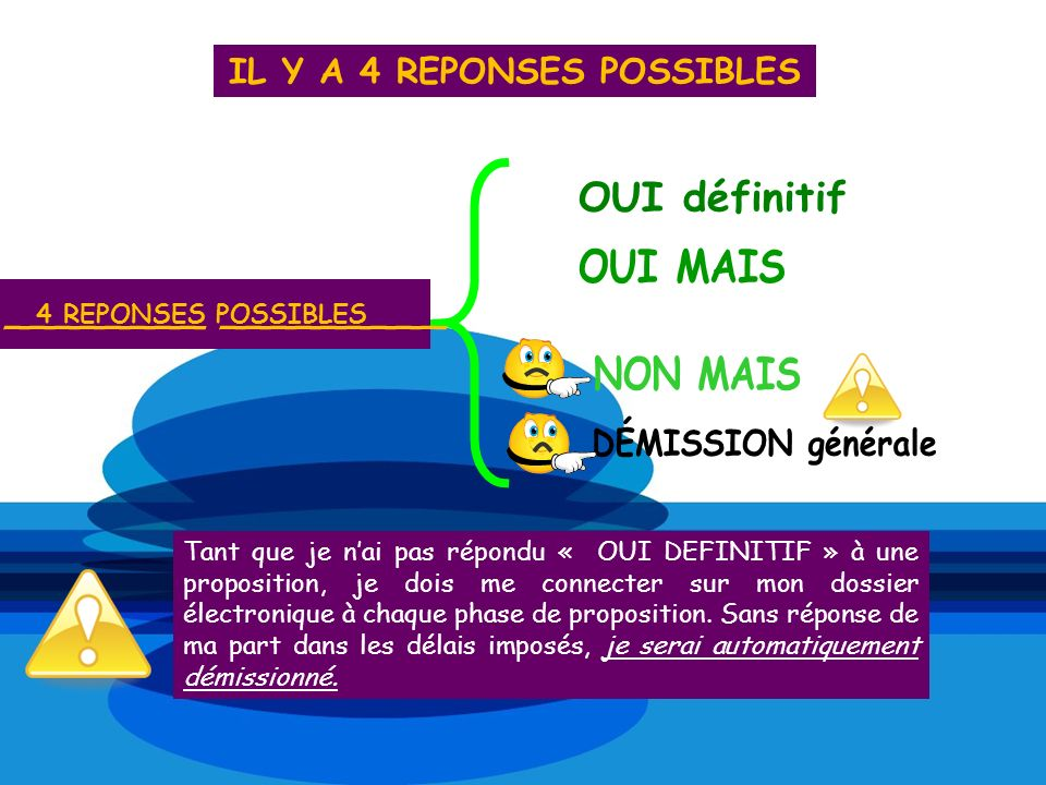 IL Y A 4 REPONSES POSSIBLES