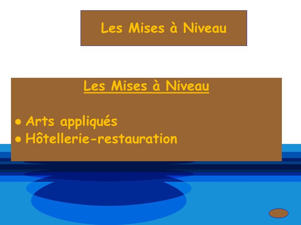 Les Mises à Niveau Les Mises à Niveau Arts appliqués Hôtellerie-restauration