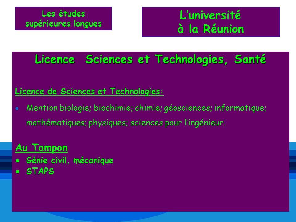 L'université à la Réunion Licence Sciences et Technologies, Santé