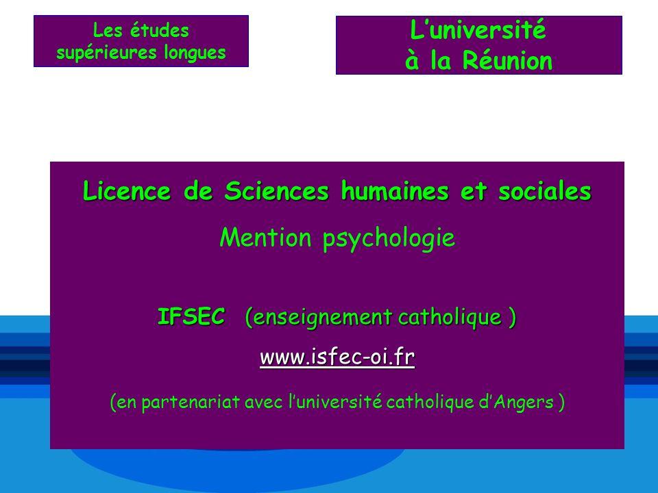 L'université à la Réunion Licence de Sciences humaines et sociales