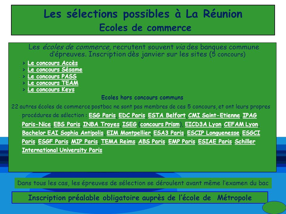 Les sélections possibles à La Réunion Ecoles de commerce