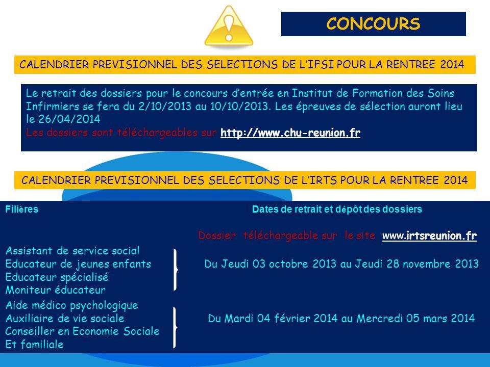 CALENDRIER PREVISIONNEL DES SELECTIONS DE L'IRTS POUR LA RENTREE 2014