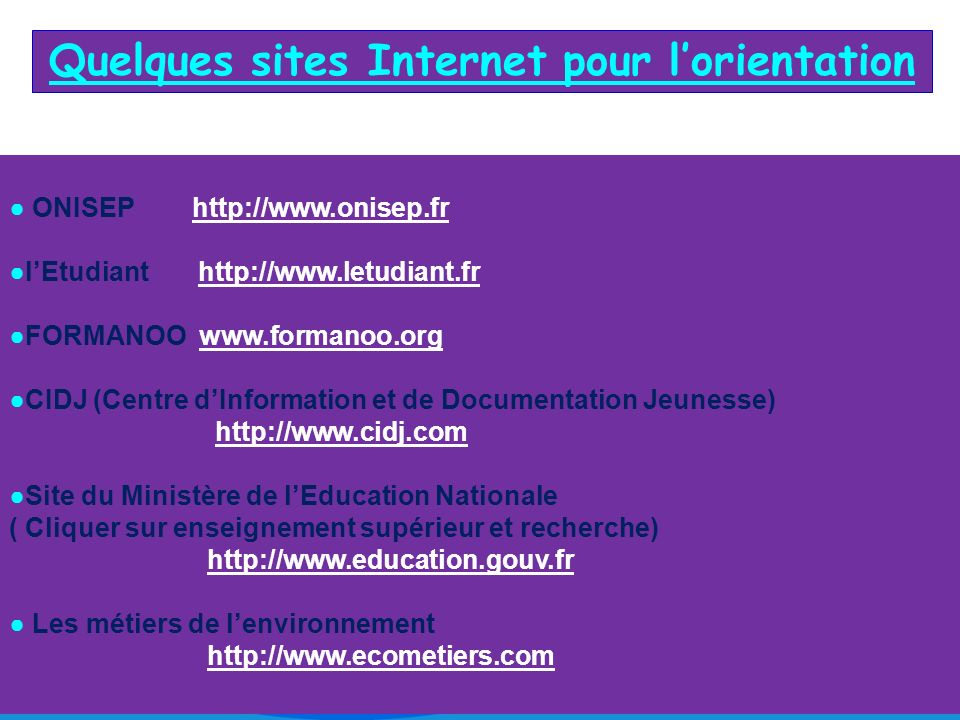 Quelques sites Internet pour l'orientation