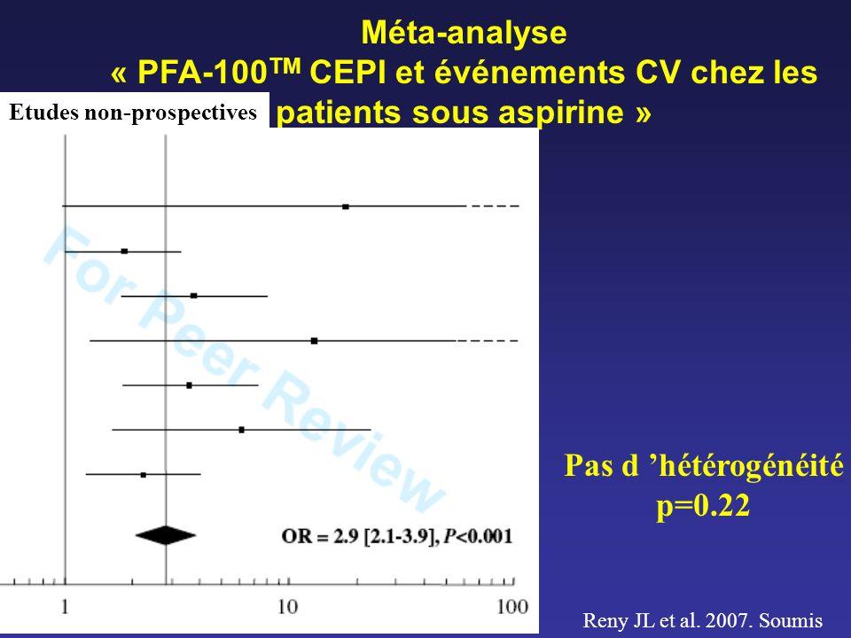« PFA-100TM CEPI et événements CV chez les patients sous aspirine »