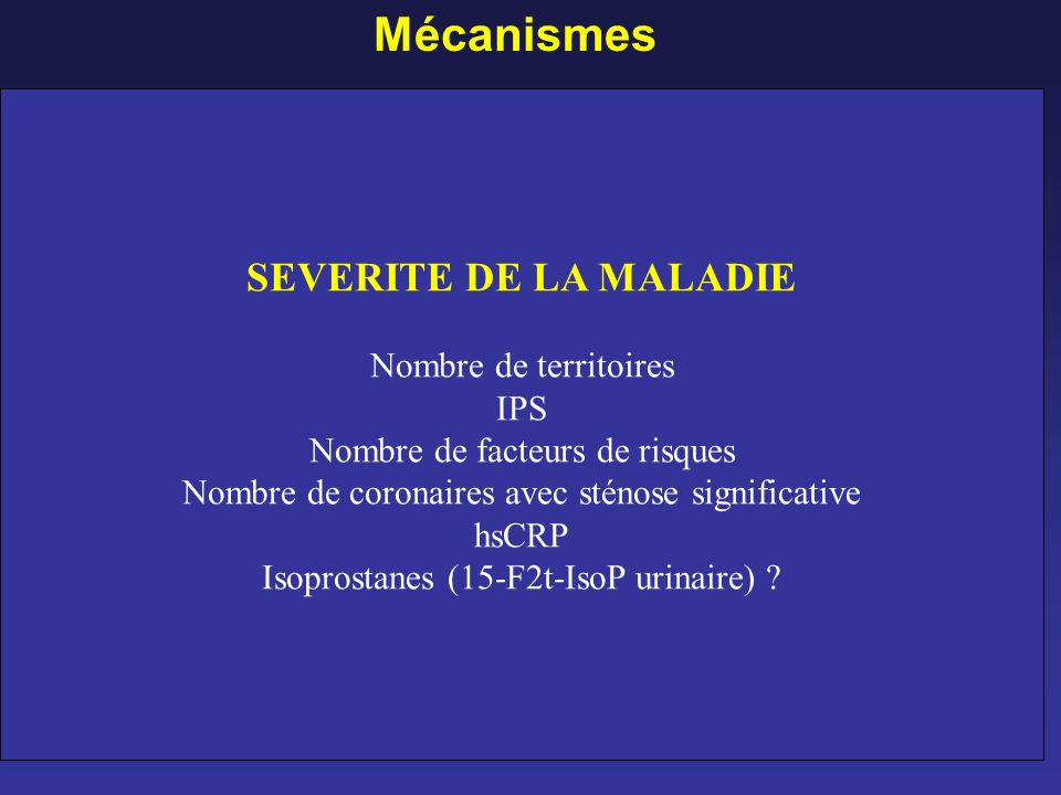 Mécanismes SEVERITE DE LA MALADIE Thiénopyridines Aspirine