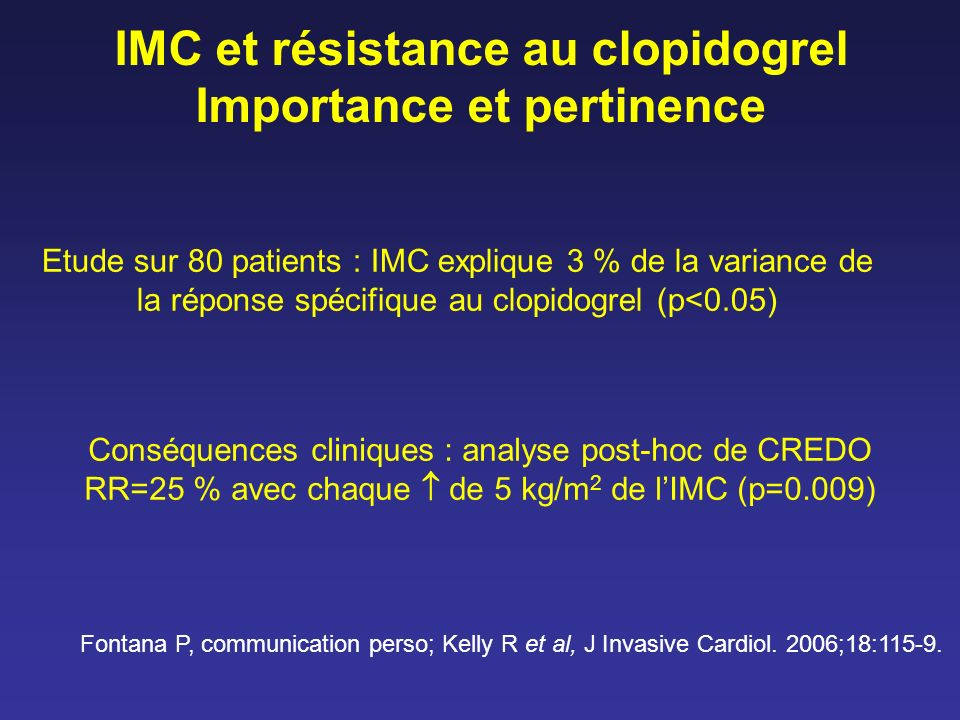 IMC et résistance au clopidogrel Importance et pertinence