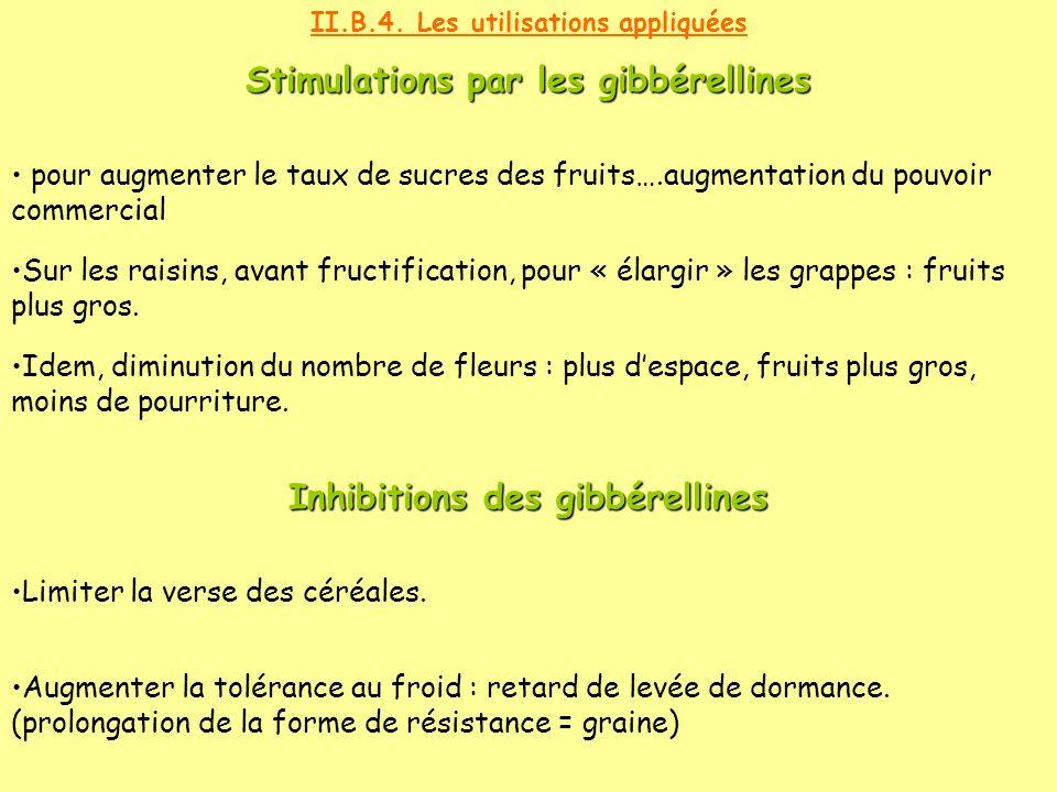 Stimulations par les gibbérellines Inhibitions des gibbérellines