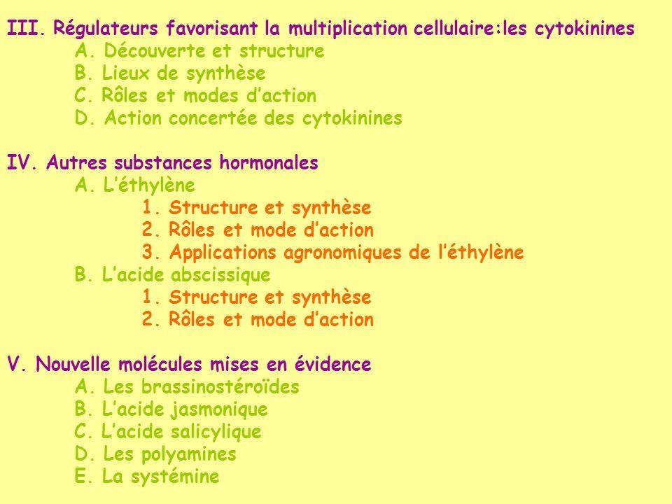 III. Régulateurs favorisant la multiplication cellulaire:les cytokinines