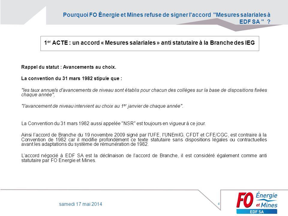 Pourquoi FO Énergie et Mines refuse de signer l accord Mesures salariales à EDF SA