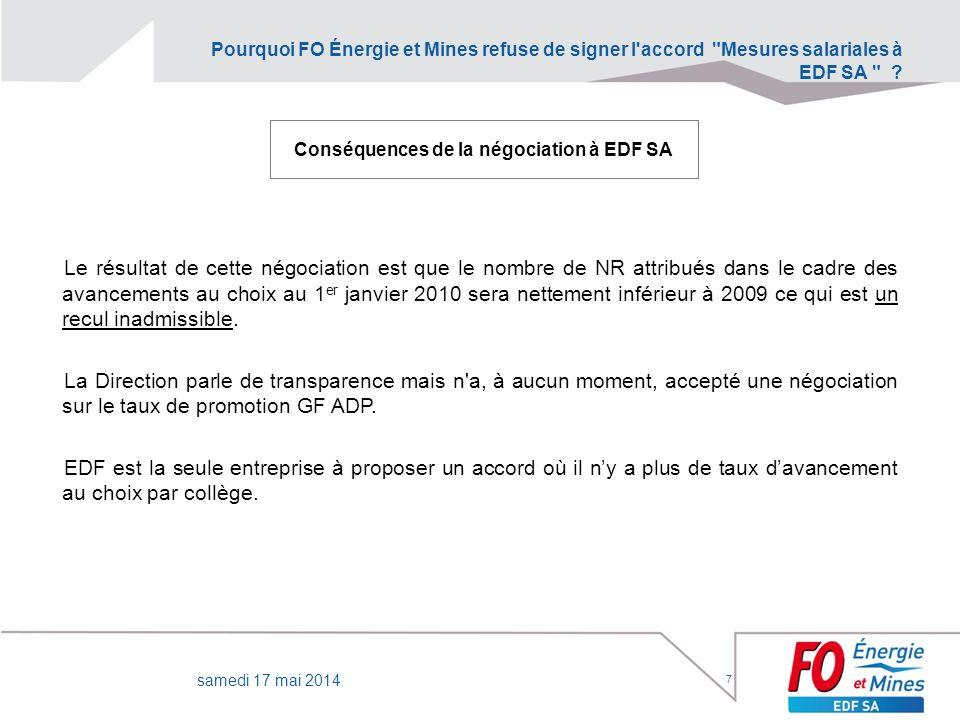 Conséquences de la négociation à EDF SA
