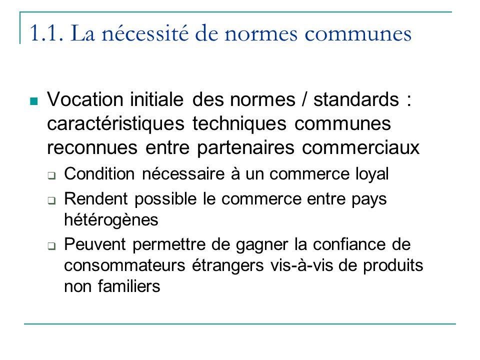 1.1. La nécessité de normes communes