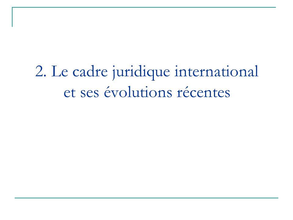 2. Le cadre juridique international et ses évolutions récentes