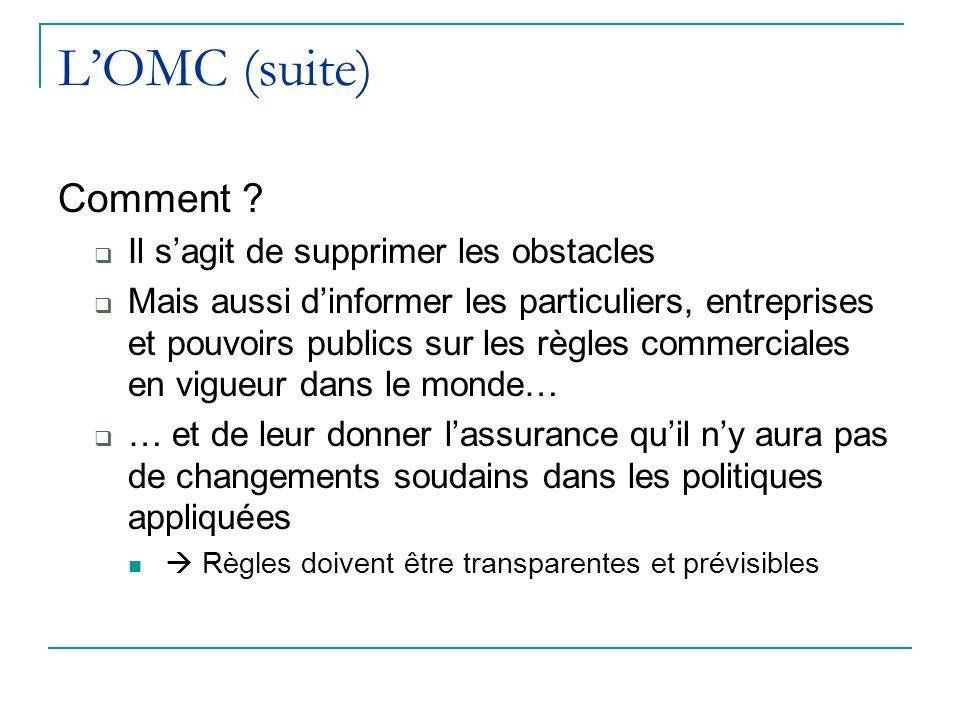 L'OMC (suite) Comment Il s'agit de supprimer les obstacles