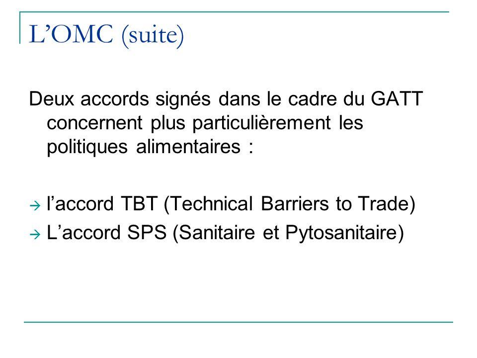L'OMC (suite) Deux accords signés dans le cadre du GATT concernent plus particulièrement les politiques alimentaires :