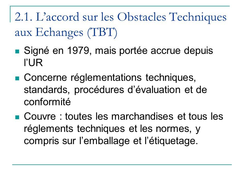 2.1. L'accord sur les Obstacles Techniques aux Echanges (TBT)