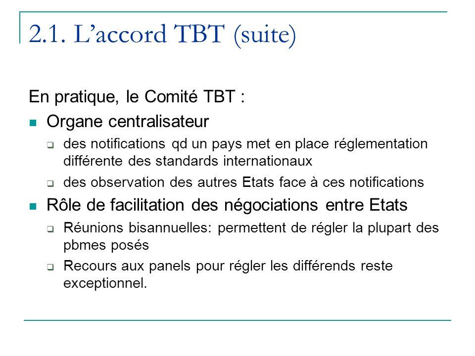 2.1. L'accord TBT (suite) En pratique, le Comité TBT :