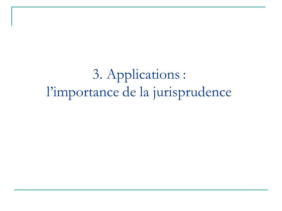 3. Applications : l'importance de la jurisprudence