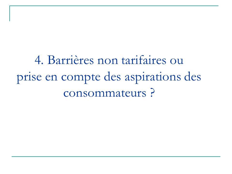 4. Barrières non tarifaires ou prise en compte des aspirations des consommateurs