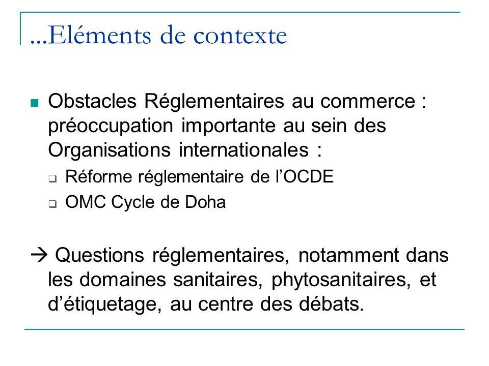 ...Eléments de contexte Obstacles Réglementaires au commerce : préoccupation importante au sein des Organisations internationales :