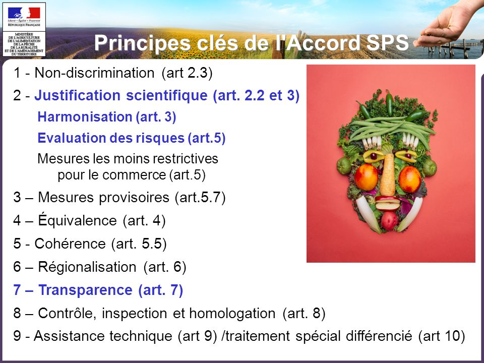 Principes clés de l Accord SPS