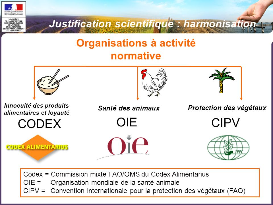 OIE CODEX CIPV Justification scientifique : harmonisation